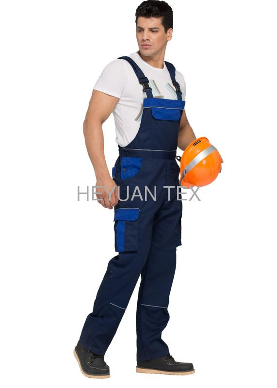 Professional Sewing Bib Work Pants / Twil Fabric Mens Bib Overall Dungarees